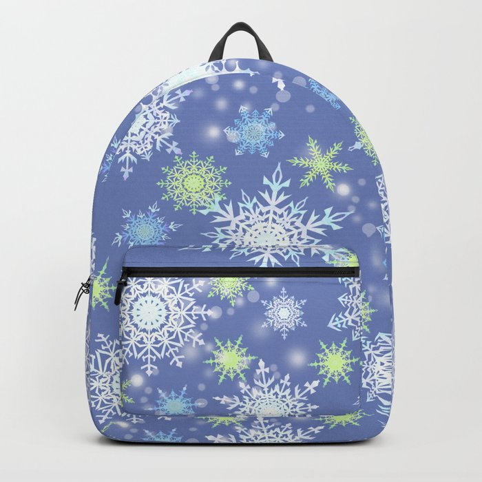 white , delicate snowflakes on a light blue background. Backpack