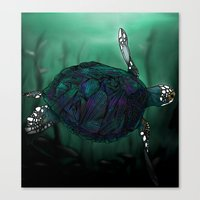 sea turtle Canvas Prints featuring Sea Turtle by Ben Geiger