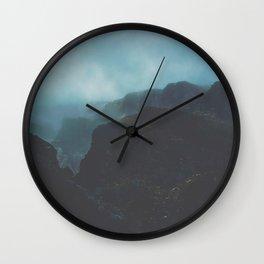 MIsty Cliffs Bluffs Blue Hues Minimalist Dark Landscape Wall Clock