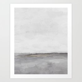 Light & Dark Gray with Gold Charcoal Grey Abstract Painting, Modern Wall Art, Art Print