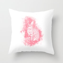 Savannah Cat No2 pw Throw Pillow