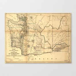 Vintage Map of Washington State (1866) Canvas Print