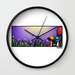 Mushroom Field Wall Clock