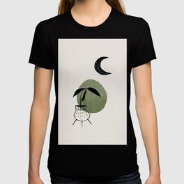 Olive Green Minimalist Mid Century Modern Vase Plant Pot Moon Ancient Ruin by Ejaaz Haniff T-shirt