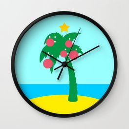 Tropical landscape with Christmas palm tree Wall Clock
