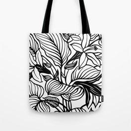 White Black Floral Minimalist Tote Bag