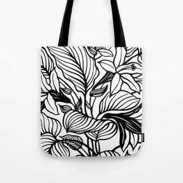 White And Black Floral Minimalist Tote Bag