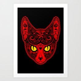 Red Day of the Dead Sugar Skull Cat Art Print