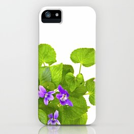 Bunch of Wild Violets Isolated on White iPhone Case
