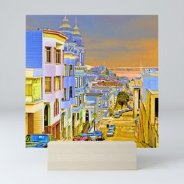City By the Sea at Sunset Mini Art Print