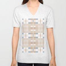 Beige and Blue Color Blocks Geometric Pattern Unisex V-Neck