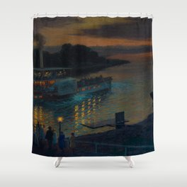 A Nightly River Cruise, Mississippi River by Ernst Max Pietschmann Shower Curtain