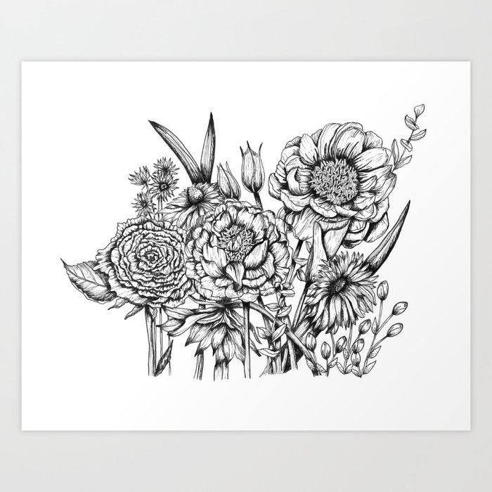 Black and white flower bouquet ink art print by junepoppiesdesigns black and white flower bouquet ink art print mightylinksfo