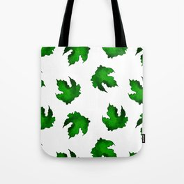 Eco green leaves pattern on white background Tote Bag