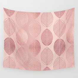 Rose Gold Leaf Pattern Wall Tapestry