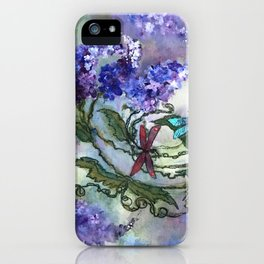 Purple Circle of Lilacs by SK iPhone Case