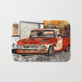 Old red pickup truck Bath Mat