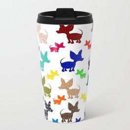 colorful chihuahuas on parade  Travel Mug
