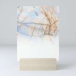 Cotton Latte Marble - Ombre blue and ivory Mini Art Print