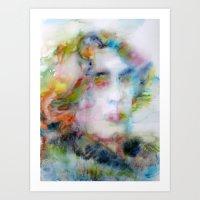 oscar wilde Art Prints featuring OSCAR WILDE - watercolor portrait by LAUTIR