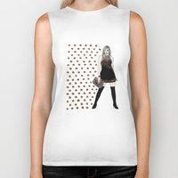 black and gold Biker Tanks featuring Gold by Melania B