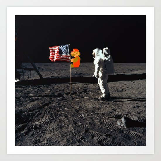 Super Mario on the Moon Art Print