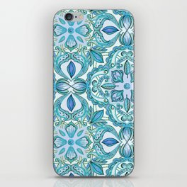 Colored Crayon Floral Pattern in Teal & White iPhone Skin