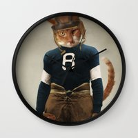 nfl Wall Clocks featuring Quarterback Beans by The Lonely Pixel