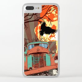 Art print: Atomic explosion, vintage rusted car, raven. Clear iPhone Case