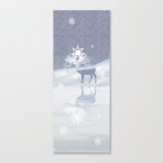 a deer with nine horns is bringing back the sun~ illustration  Canvas Print