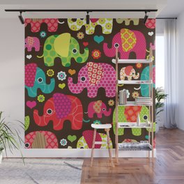 Retro Elephants Wall Mural