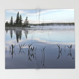 trees and weeds reflected Throw Blanket