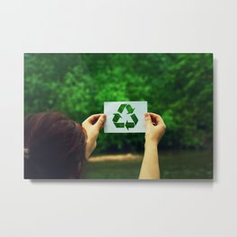 holding recycle symbol Metal Print