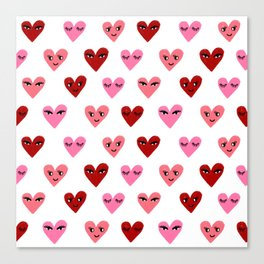 Heart love valentines day gifts hearts with faces cute valentine red and pink Canvas Print
