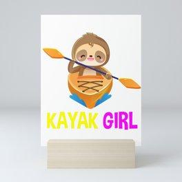 sloth kayak girl, sloth kayak team, kayaking, paddling, yak life Mini Art Print