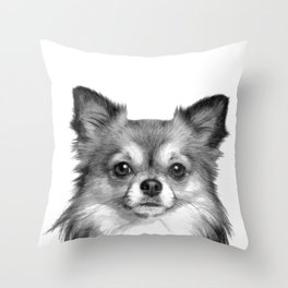 Black and White Chihuahua Throw Pillow