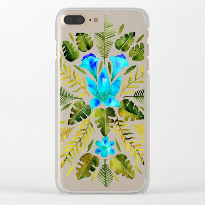 Tropical Symmetry – Turquoise & Olive Palette Clear iPhone Case