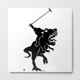 Big foot playing polo on a T-rex Metal Print