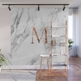 Monogram rose gold marble M Wall Mural