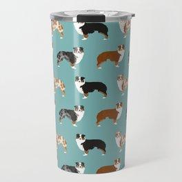 Australian Shepherd owners dog breed cute herding dogs aussie dogs animal pet portrait hearts Travel Mug