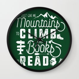 Moutnains & Books - Inverse Wall Clock
