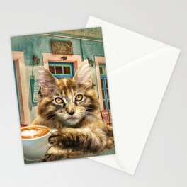 Maine Coon Cat With Coffee Stationery Cards