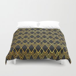 Art Deco Diamond Teardop - Black & Gold Duvet Cover