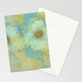 Gold and Blue Flower Garden Abstract Stationery Cards