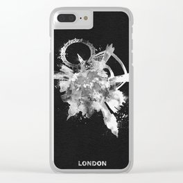 London, United Kingdom Black and White Skyround / Skyline Watercolor Painting (Inverted Version) Clear iPhone Case
