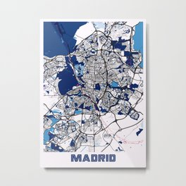 Madrid - Spain MilkTea City Map Metal Print
