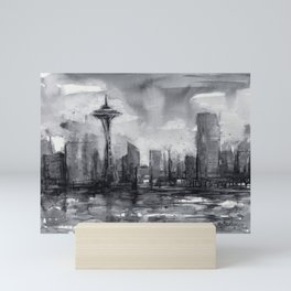 Seattle Skyline Painting Watercolor Black and White Space Needle Mini Art Print