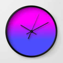Neon Blue and Hot Pink Ombré Shade Color Fade Wall Clock