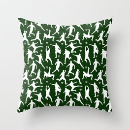 Soccer Players // Dark Green Throw Pillow