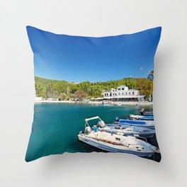 The port in Agnontas of Skopelos island, Greece Throw Pillow